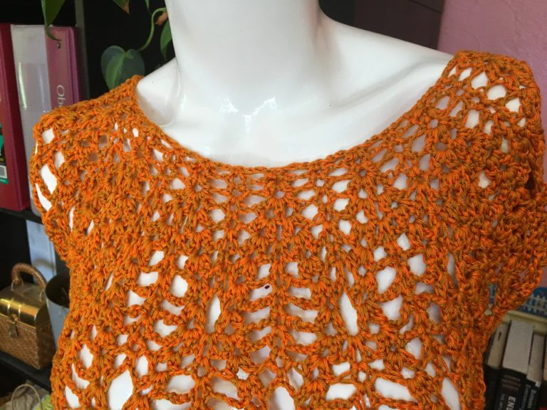Orange Lacey Tee: 4 strands total (sport weight)